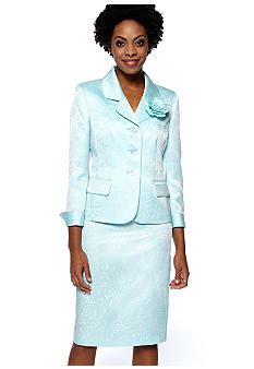 Le Suit Plus Size Jacquard Skirt Suit with Flower Lapel
