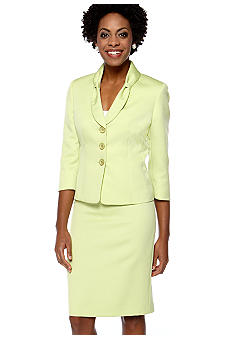 Le Suit Plus Size Lime Green Skirt Suit