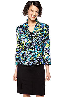 Le Suit Plus Size Multicolor Printed Skirt Suit