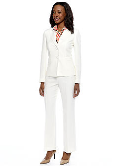 Le Suit Plus Size Pant Suit with Scarf