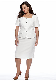 Le Suit Plus Size Jacquard Skirt Suit