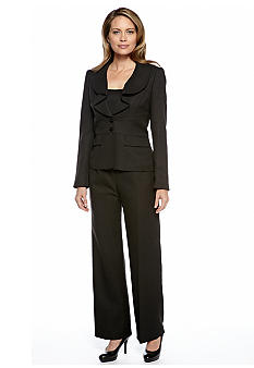 Le Suit Plus Size Ruffle Collar Pant Suit