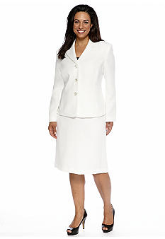 Le Suit Plus Size Tonal Jacquard Skirt Suit