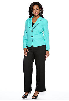 Le Suit Plus Size Piped Shawl Collar Pant Suit