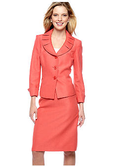 Le Suit Ruffle Collar Skirt Suit