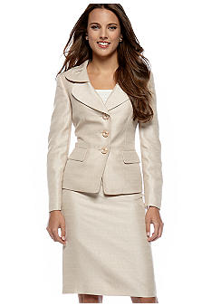 Le Suit Petite Double Collar Skirt Suit