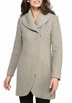Jessica Simpson Asymmetrical Zip Braided Wool Walker with Shawl Collar