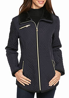 Jessica Simpson Quilted Zip Front Coat With Slant Pocket