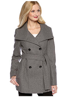 Calvin Klein Standing Collar Coat with Tie Belt