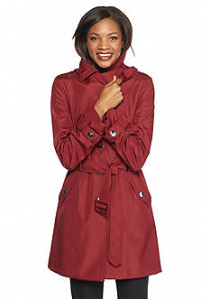 Calvin Klein Button Front Trench Coat with Detachable Hood