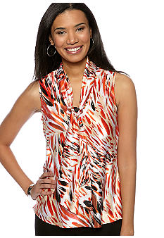 Kasper Printed Cami with Tie Neck