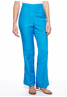 Kasper Plus Size Side Zip Linen Pant