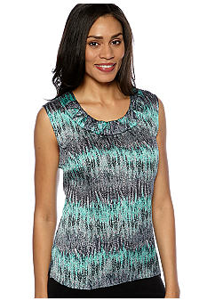 Kasper Rouched U-Neck Printed Cami