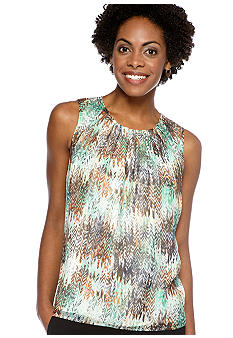 Kasper Pleat Neck Missoni Print Cami