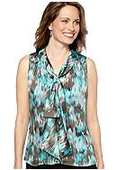 Kasper Abstract Print Knot Front Top