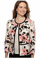 Kasper Petite Printed Piped Flyaway Jacket
