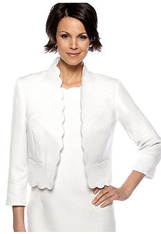 Kasper Circle Jacquard Print Scalloped Jacket