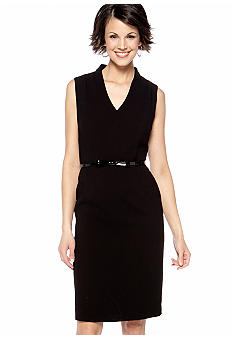 Kasper Petite Belted Black Dress