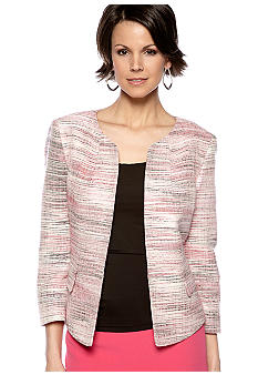 Kasper Plus Size Pink Multicolor Tweed Jacket