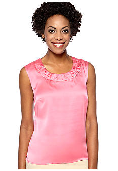 Kasper Plus Size Rouched U-Neck Cami