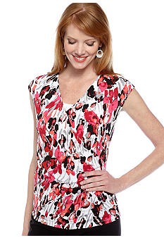 Kasper Petite Side Ruched Printed Top