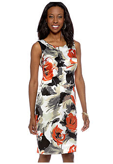 Kasper Plus Size Watercolor Rose Sheath Dress