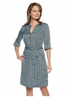 Kasper Geometric Print Shirt Dress