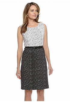 Kasper Dot Print Belted Sheath Dress