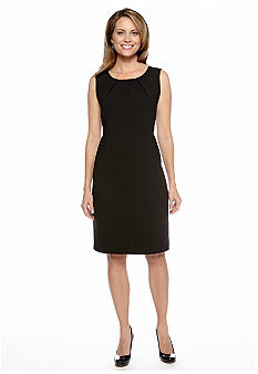 Kasper Pleat Neck Sheath Dress