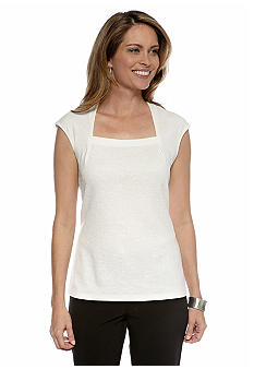 Kasper Square Neck Jacquard Top