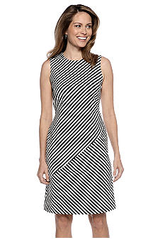 Kasper Mixed Stripe Sheath Dress