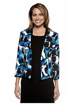 Kasper Plus Size Circle Print Flyaway Jacket
