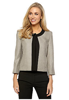 Kasper Petite Mini Tweed Framed One Button Jacket