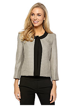 Kasper Plus Size Mini Tweed Framed One Button Jacket