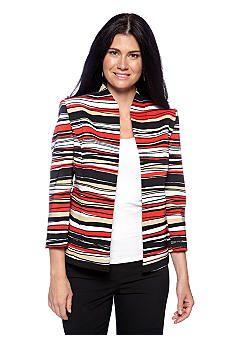 Kasper Plus Size Striped Flyaway Jacket
