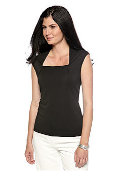Kasper Matte Jersey Square Neck Top