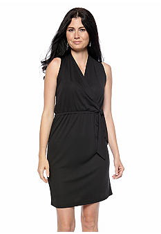 Kasper Matte Jersey Sleeveless Wrap Top Dress