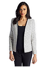 Kasper Striped Open Front Jacket