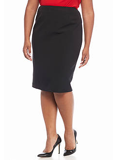 Kasper Plus Size Solid Pencil Skirt