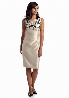 Kasper Embroidered Shantung Dress