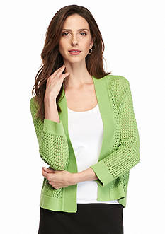 Kasper Open Stitch Shrug Cardigan