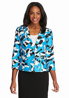 Kasper Petite All Over Print Shantung Jacket