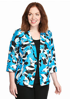 Kasper Plus Size All Over Print Shantung Jacket