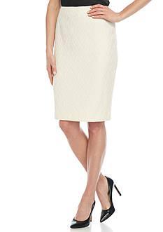 Kasper Solid Jacquard Skirt