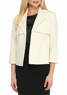 Kasper Plus Size Solid Jacquard Jacket