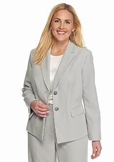 Kasper Plus Size Double Button Seersucker Jacket