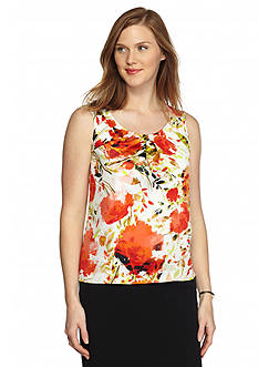Kasper Petite Front Pleat Sleeveless Blouse