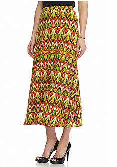 Kasper Print Jersey Knit A Line Skirt