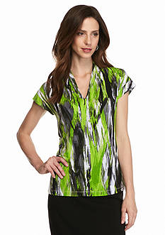 Kasper Print Cap Sleeve Top
