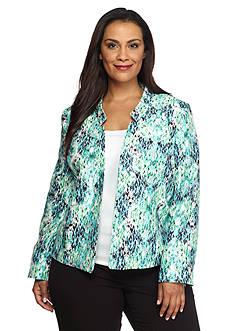 Kasper Plus Size Print Shantung Flyaway Jacket